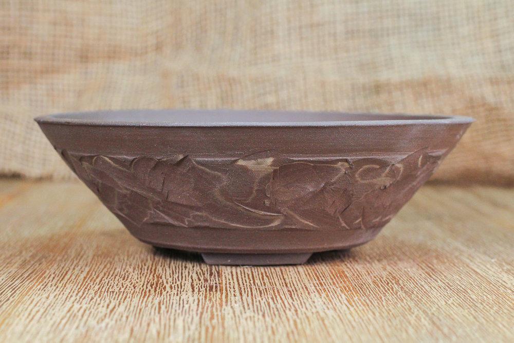 "Textured Marble 6.75"" Round Bonsai Pot"