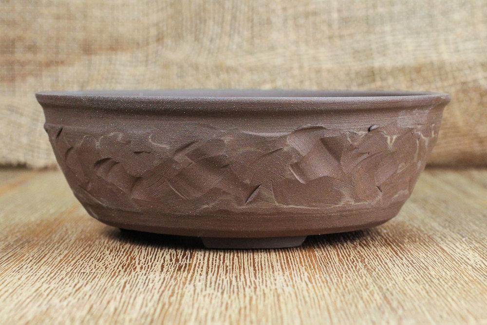 "Textured Marble 6.5"" Round Bonsai Pot"