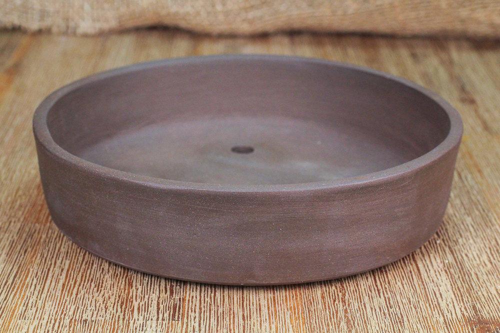 "Unglazed Shallow Black Clay 7"" Drum Style Bonsai Pot"