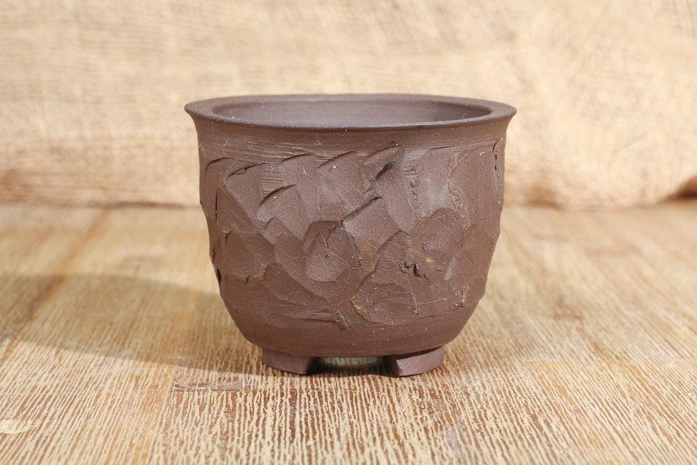 "Textured Black Clay 3.25"" Semi-Cascade Bonsai Pot"