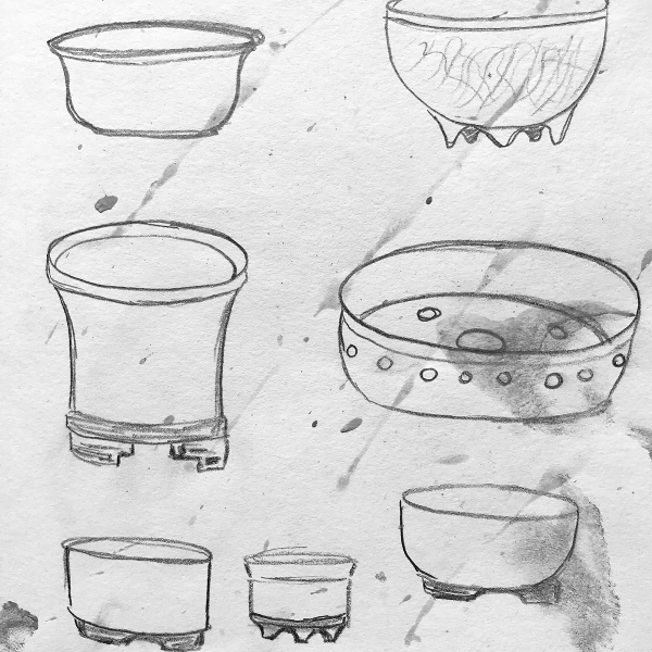 Sketches and exploration of bonsai pot forms by Ashley Keller