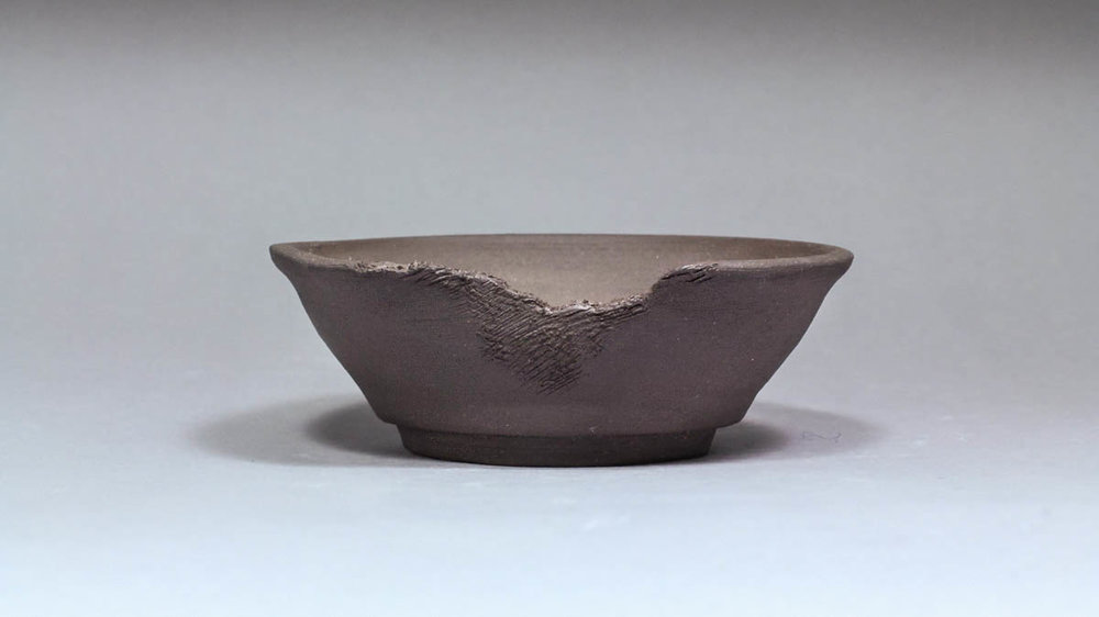 "Eroded Black Clay 5.25"" Bonsai Pot"
