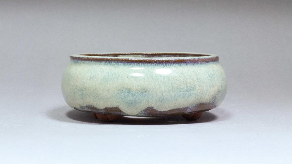 "Seafoam 5"" Round Bonsai Pot with Cloud Feet"