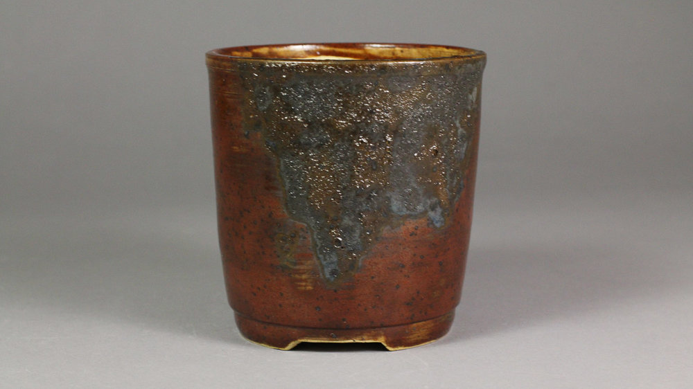 "Iron Red with Black Lava 4.125"" Cascade Bonsai Pot"