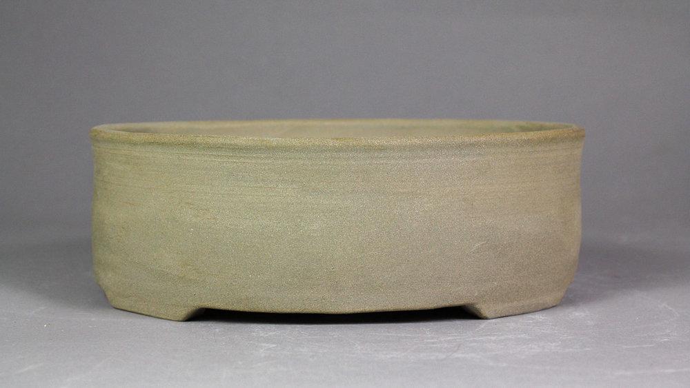 """Unglazed Grey 7"""" Oval Bonsai Pot"""