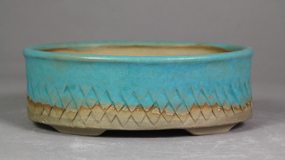 """Matte Turquoise with Dragon Scales 5.4"""" Oval Bonsai Pot"""