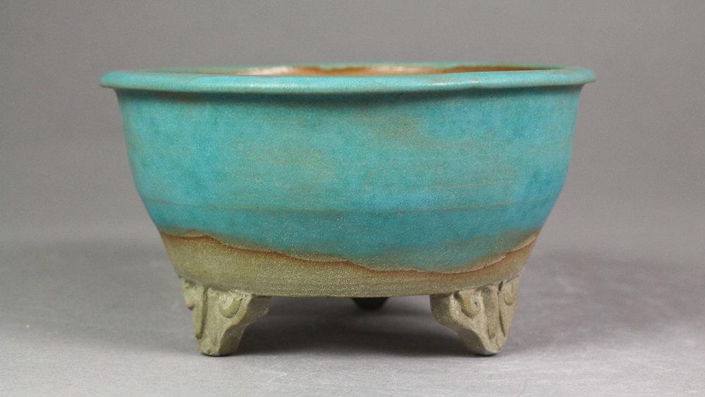 "Matte Turquoise 4.8"" Round Bonsai Pot with Cloud Feet"