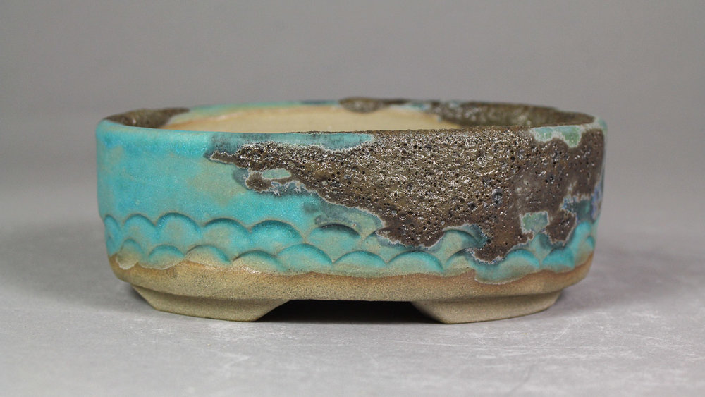 """Black Lava over Matte Turquoise 4.5"""" Oval Bonsai Pot with Scallop Carving"""
