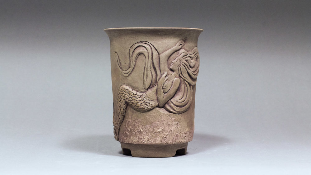 "Cascade Mermaid 3.5"" Hand Carved Bonsai Pot"