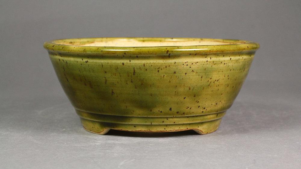 """Forest Green 6.25"""" Round Bonsai Pot"""