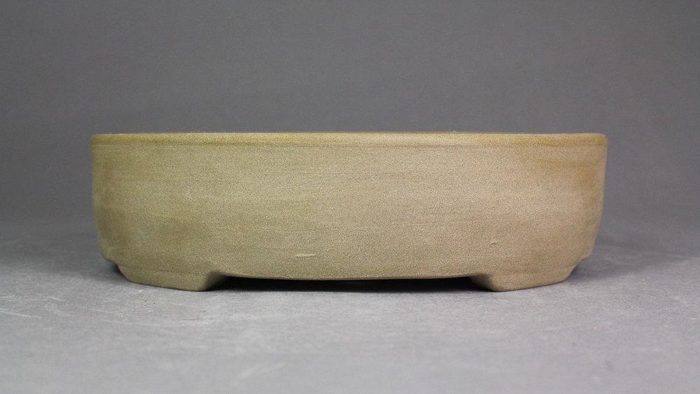 """Unglazed Stone Grey 7.25"""" Oval Bonsai Pot"""