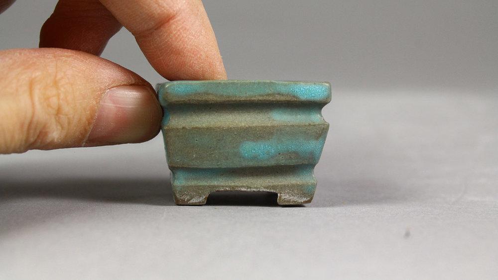 "Matte Turquoise 1.25"" Rectangle Mame Bonsai Pot"
