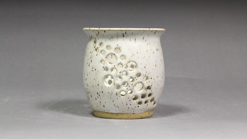 """Speckled Eggshell 3.5x3.75"""" Hand Carved Orchid Pot"""