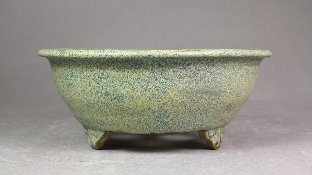 """Matte Northern Lichen 6.75"""" Round Bonsai Pot with Cloud Feet"""