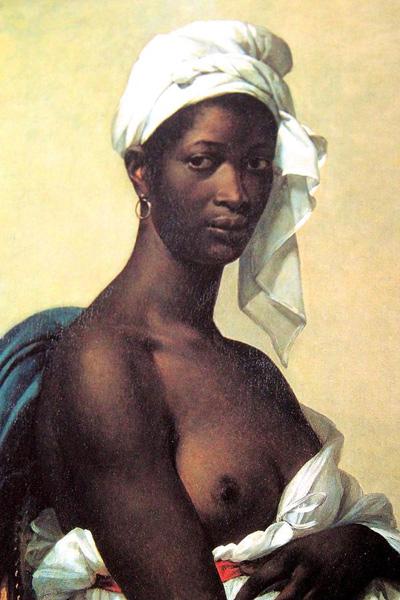 Marie-Guillemine Benoist,  Portrait of a Negress,  1800  Oil on canvas, 81 x 65 cm (31½ × 25½ in)  Musée du Louvre, Paris