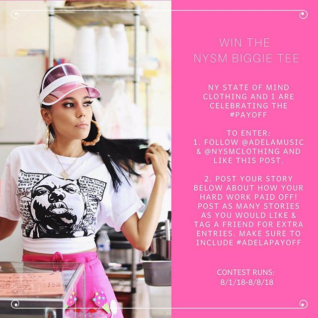 My friends at @nysmclothing and I are giving away the BIGGIE TEE! Follow the instructions to enter! // AdELA X August X Payoff // #biggie #biggiesmalls #notoriousbig #newyorkstateofmind #nysm #giveaway #payoff #adelapayoff