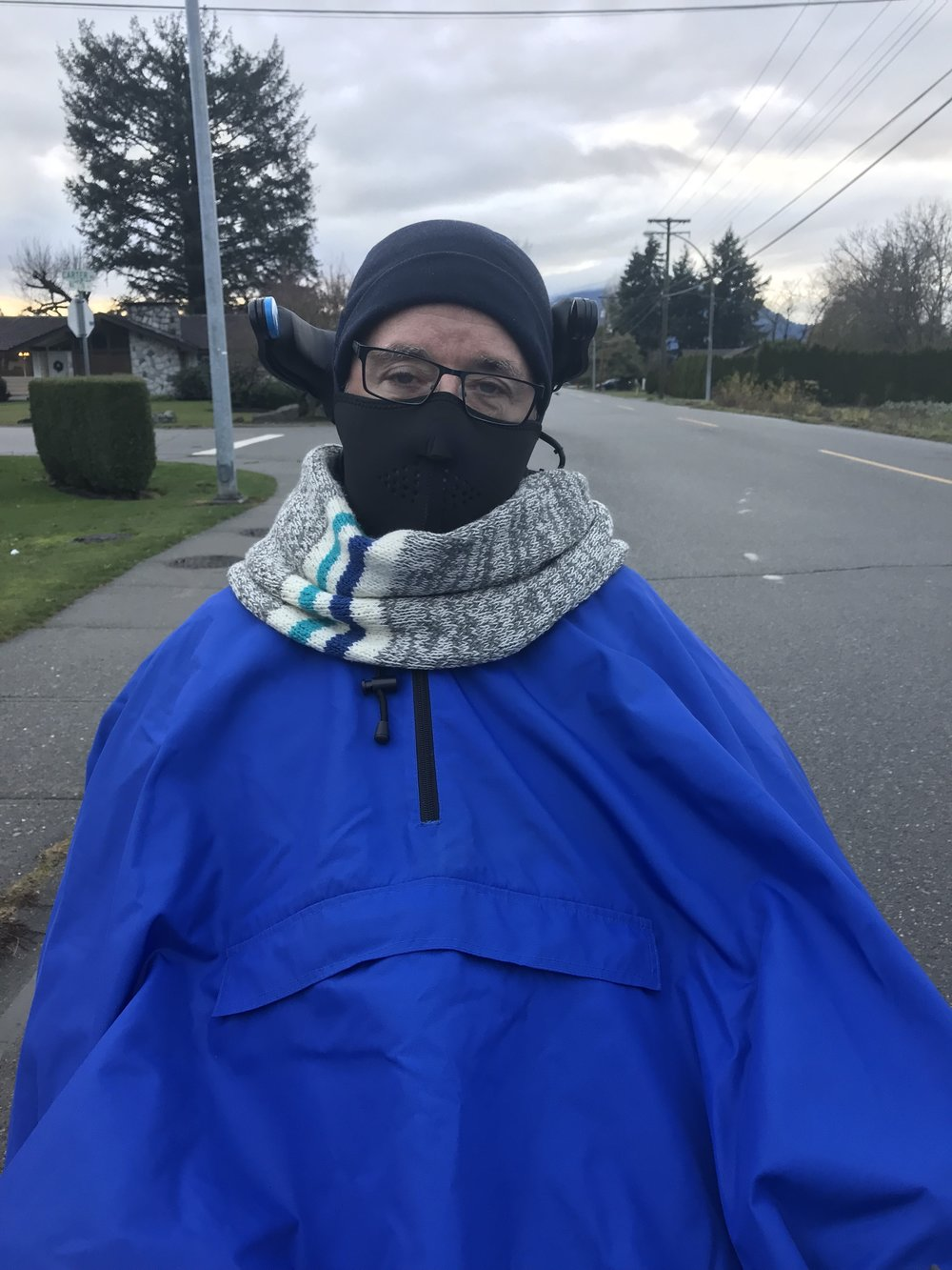 Jim all bundled up for a walk and roll on a brisk day!