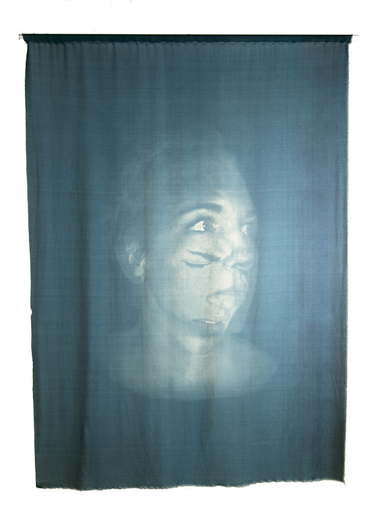 Looking In, Toned Cyanotype on Silk