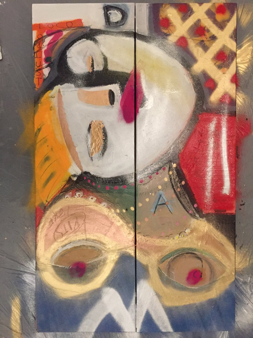 Bad Dreams  - Pigsy Kemp Collaboration2: 300mm x 900mmDiptych - Mixed Media on Canvas