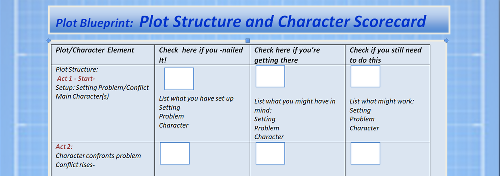 """Plot-Character Scorecard    —    Click to download the scorecard, then """"save as"""" to    keep it on your computer."""