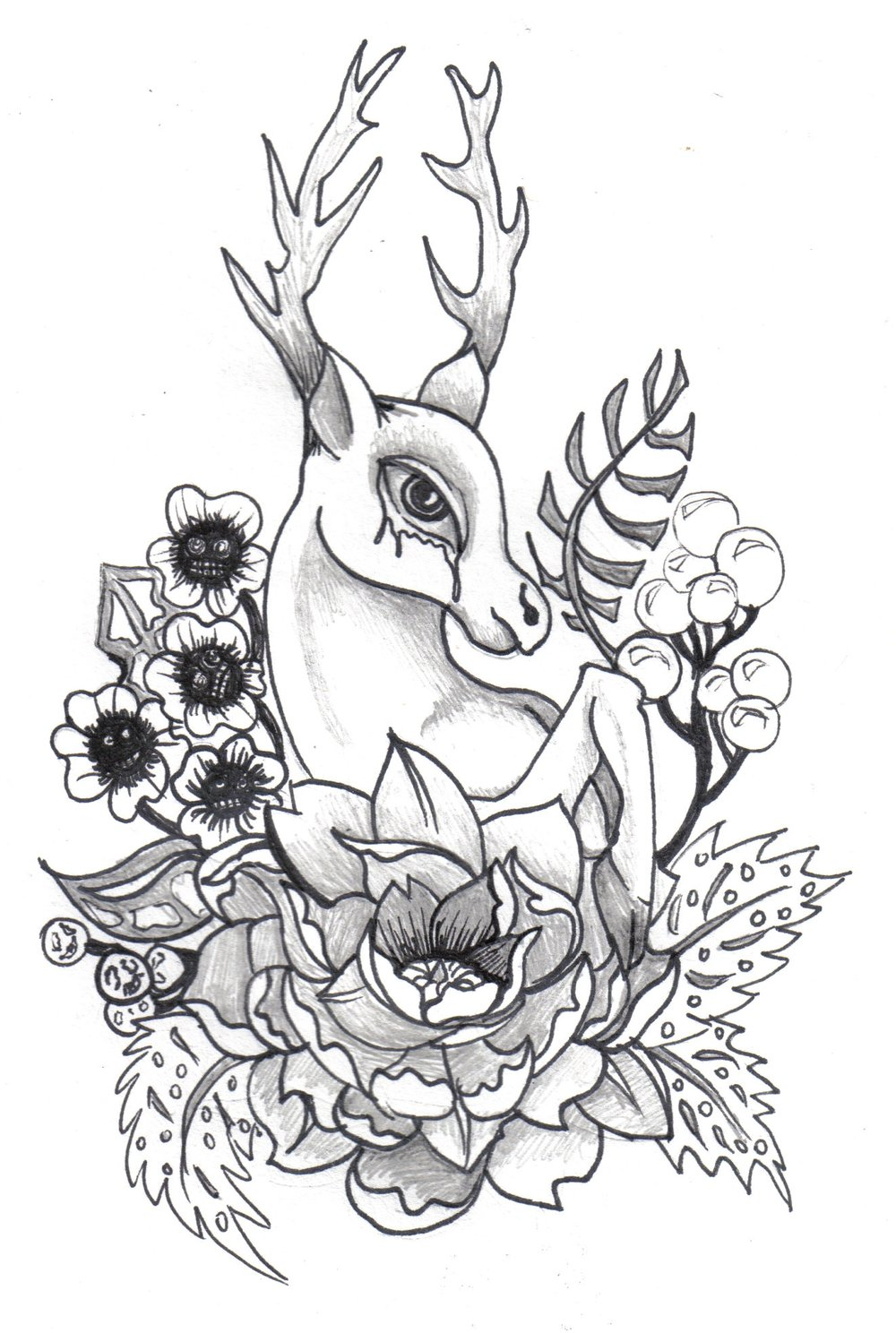 NO TEARS DEER   Original illustration done with pen and ink and pencil on paper. Prints availiable in my shop.
