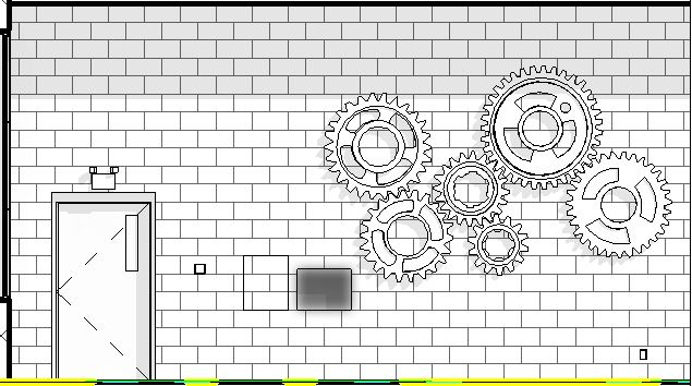 Elevation of food wall with gears and touchscreen.