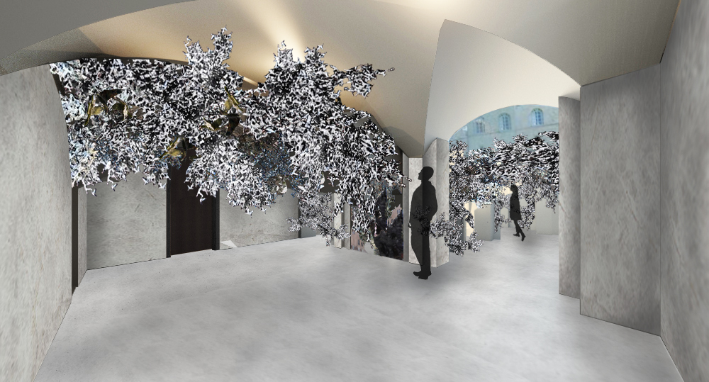 Entrance and courtyard renderings. Atomospjere of reflecting on our most hidden parts.