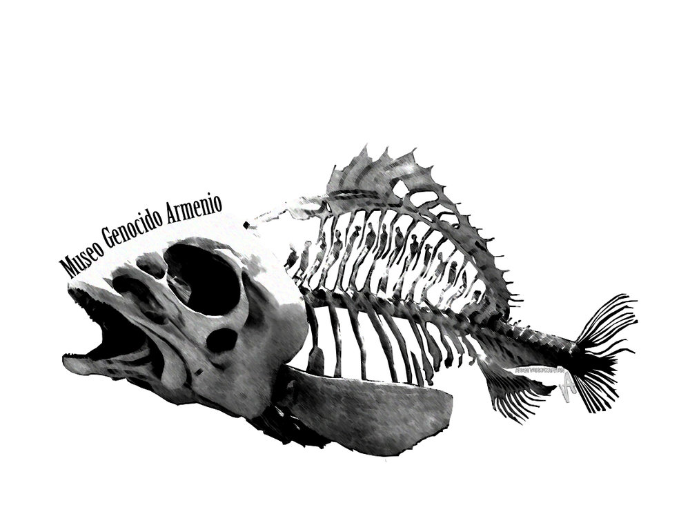 "Logo based off the art work ""Voiceless"" In Memory Of Armenian Genocide 1915 by Aram Vardazaryan. Showing the bodies of the lost inside the fishes bones."