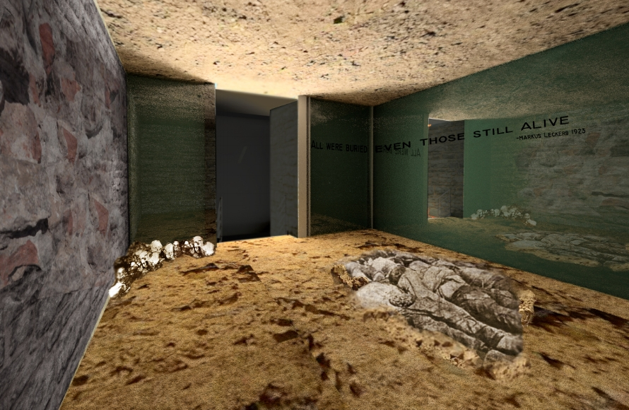 Beginning sketch idea to final rendering of the burial room. Being smaller with existing exposed brick allowed for the space to truly feel enclosed. With the use of real dirt and stone and a sculpture of the victims is this final room leave the feeling of being buried alive with the bodies on the ground.