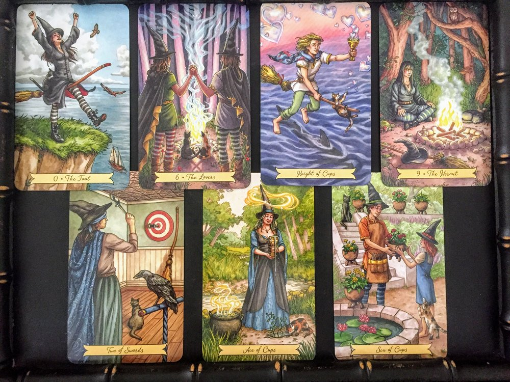 1. Tell me about yourself. What is your most important characteristic?    The Fool  - It is a young, fresh, and fun deck. Its definitely not afraid to go out on a limb and take a leap of faith!    2. What are your strengths as a deck?    The Lovers -  I think it would be a good deck to use in magical workings and love readings. It also joins the divine masculine and the divine feminine in a beautifully balanced way.    3. What are your limits as a deck?    Knight of Cups -  It tends to be pretty optimistic and follows its heart. Focusing on love, feeling, emotion, and flying high - not necessarily unforeseen risk or danger.    4. What are you here to teach me?    The Hermit -  How to be meditative, rely on myself, and listen to my inner wisdom.    5. How can I best learn and collaborate with you?    Two of Swords -  This really feels like having blind faith and trust. Tune out the world and come within and to Spirit for direction, guidance, or instruction.   6. What is the potential outcome of our working relationship?    Ace of Cups  -   A new relationship (perhaps of even a spiritual nature) that is overflowing with love and creative energy!   7.  I also pulled an additional card for this interview with no set position or question attached to it. The card I received was the  Six of Cups . Childhood memories and nostalgia. This deck definitely takes me to that place. Maybe that is why I like it so much!