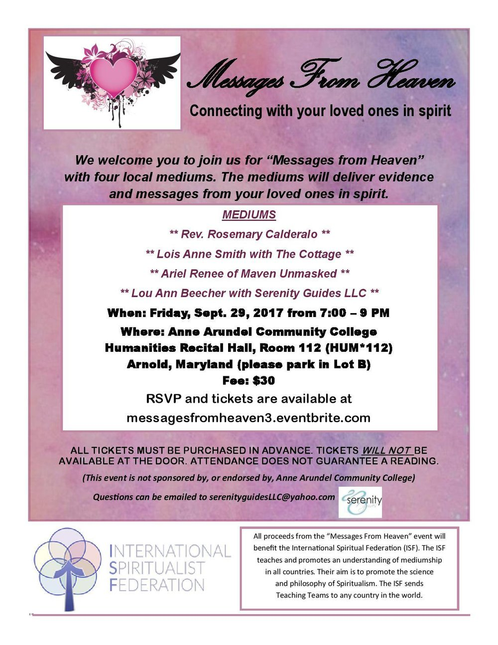 Messages From Heaven - ISF September 2017 Fundraiser Flyer.jpg