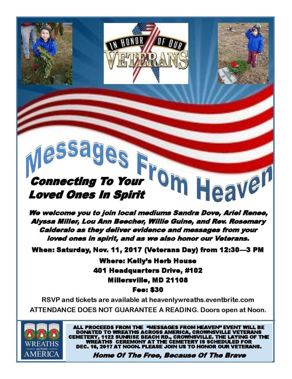 Veteran's Day Wreaths Across America Mediumship Platform Event