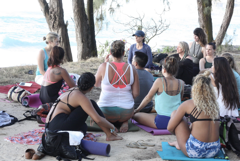 """Jenna Pacelli   teaching """"Be Seen for Who You Are"""" at Wanderlust Festival in Oahu, Hawaii."""