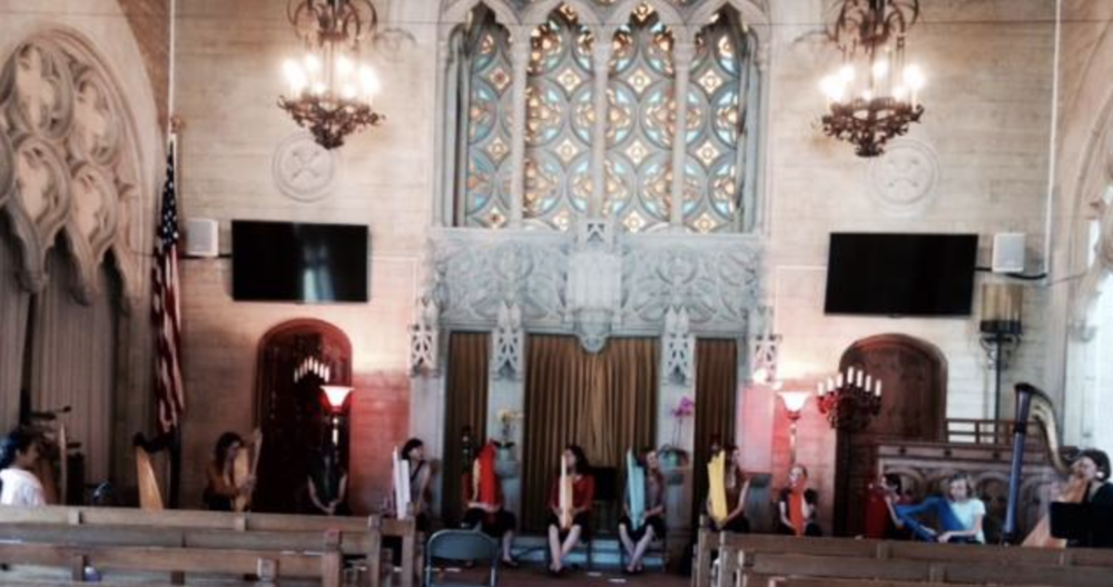 Chapel of the Chimes benefit concert with 13 harps // Oakland
