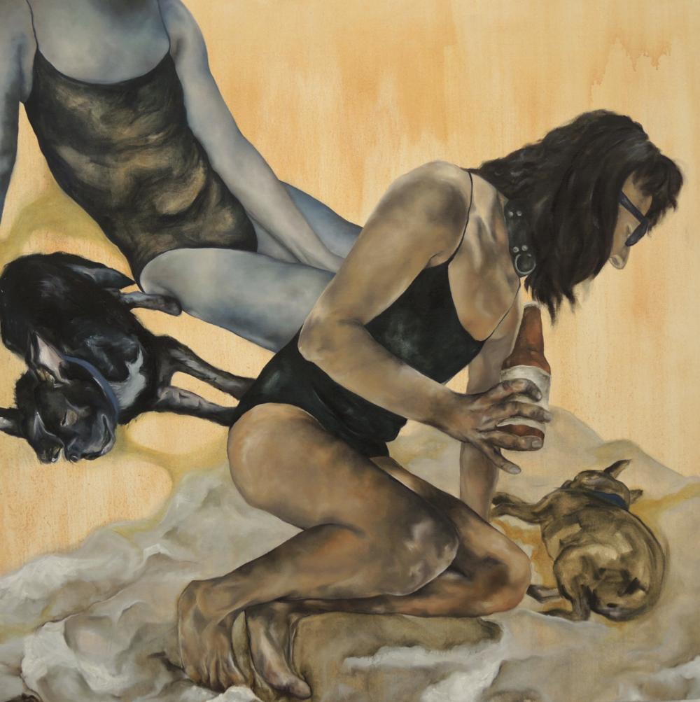 "aqueous like binaries (Hector/Hex)   48x48"" oil on canvas, 2016"