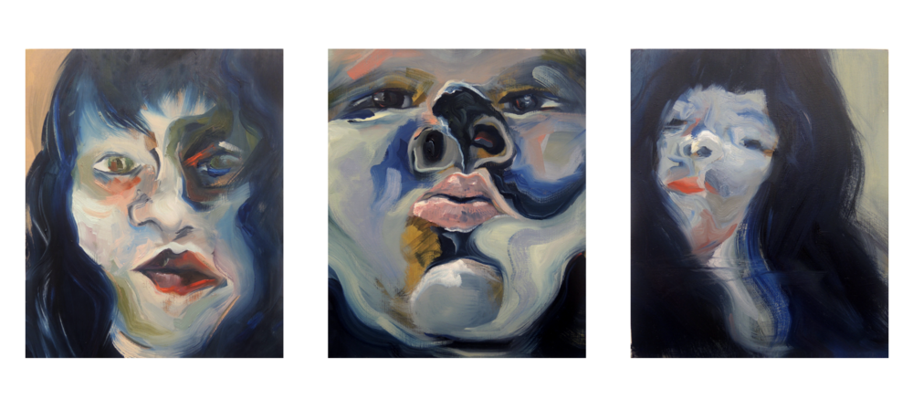 """Untitled triptych (after Kubrick)   16x36""""oil on wood panel triptych, 2016"""
