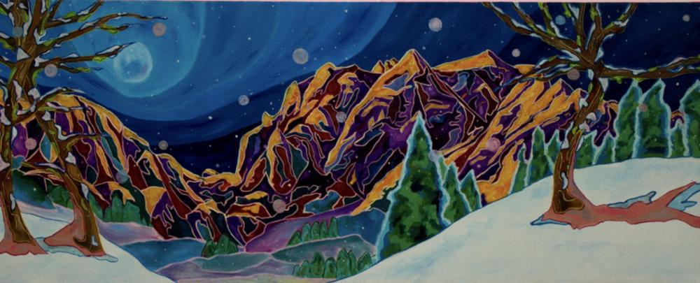 """Plumas, 12"""" x 30"""", Oil and acrylic on canvas, 2016"""