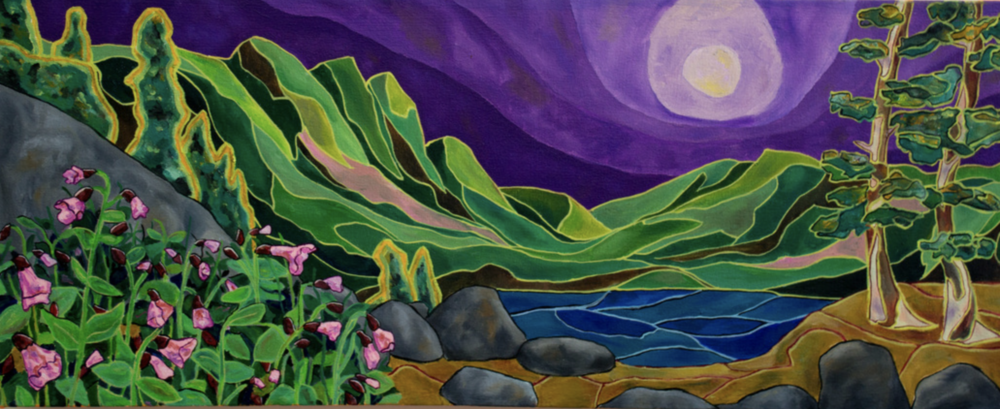 """Moonlight, 12"""" x 30"""", Oil and acrylic on canvas, 2016"""