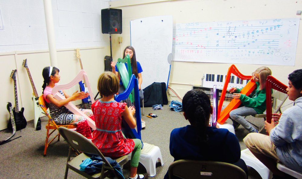 Harp class in session at  Mission Cultural Center for Latino Arts , sponsored by MCMF // San Francisco