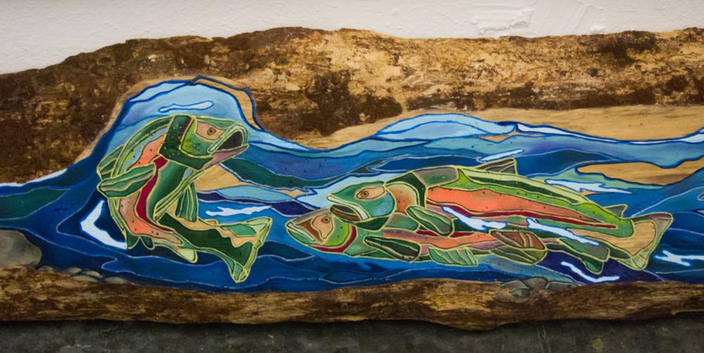 "Detail of ""Salmonidae"", 14"" x 96"", oil on log, 2015"