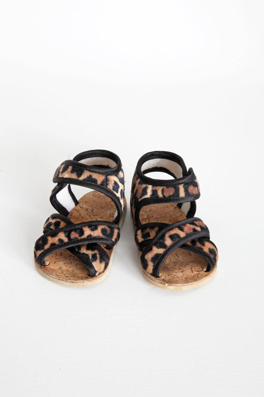 Leopard Print Sandals - Size 0