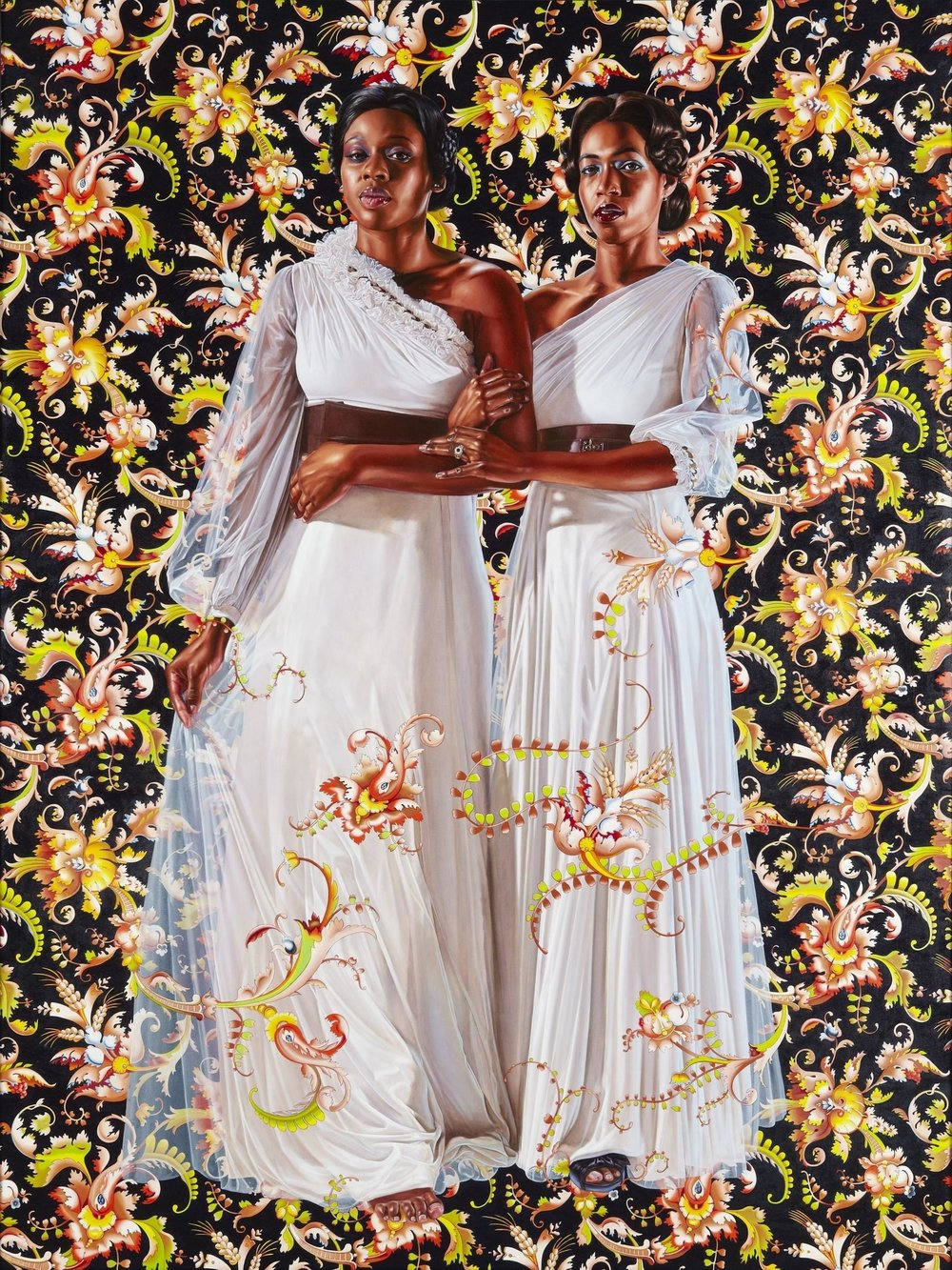 Kehinde Wiley, The Two Sisters, 2012. Oil on linen. Collection of Pamela K. and William A. Royall, Jr. Courtesy of Sean Kelly, New York. ©Kehinde Wiley. (Photo: Jason Wyche, courtesy of Sean Kelly, New York)