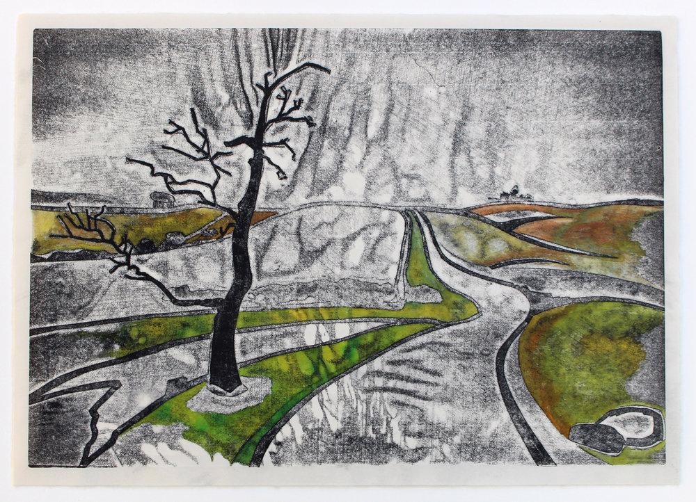 Dartmoor pressure print watercolour Molly Lemon
