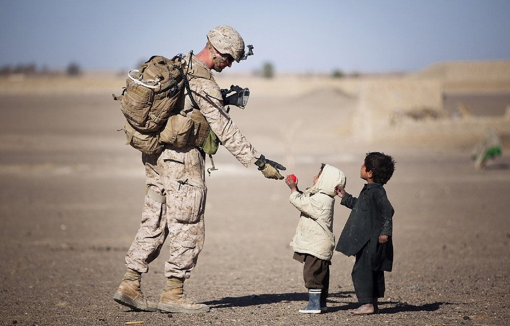 Solider and children