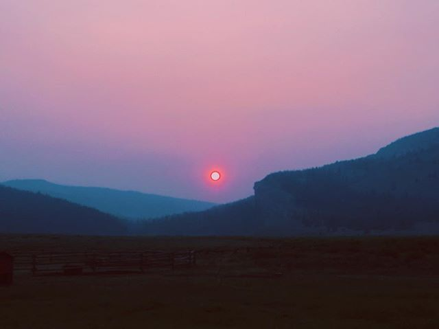 Smokey skies make for beautiful sunsets 💥#darwinranch #sunset #mountains #wilderness #sun #sky #nature #mountainsunset