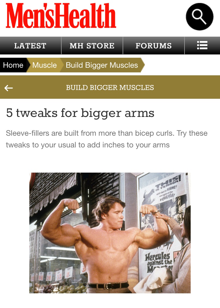 P4 Founder Dylan Jones gives expert advise for bigger arms in Mens Health online magazine