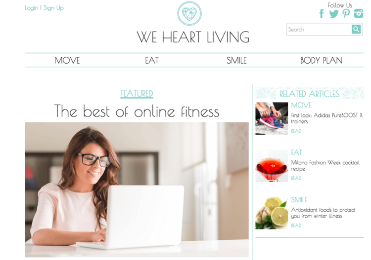 P4 Virtual Trainer featured in we heart living best of online fitness