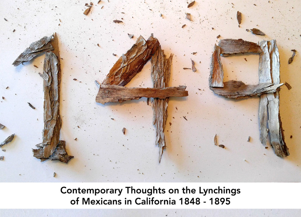 Coachella Valley Art Center - 45140 Towne StreetIndio, CA 92201149-Contemporary Thoughts on the Lynching of Mexicans in California 1848-1859Project Dates: 1 February –23 March, 2019In California between the years of 1848 and 1859, 149 Mexicans were lynched, victims of mob violence. Lynchings took place from Northern to Southern California and included the first lynching of a woman.Using sculptural insinuation for this lesser known historical fact, Wm. Marquez will create an installation consisting of 149 suspended objects. Marnie L. Navarro will use sound, projection and graphics to address the contemporary parallels in our current political and social climates.Being of Mexican heritage, both Navarro and Marquez are compelled to bring to light historical tragedies that are not discussed. Wm. Marquez's ancestors first settled the Santa Monica/Los Angeles area in 1769. Having past family members who may have been physically close to the mob violence and killings has compelled him to address this subject matter. Navarro has consistently made art works addressing social and political issues. She too is compelled to address the possibility of history being repeated.