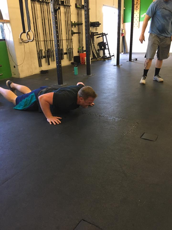 Thomas sweating during burpees