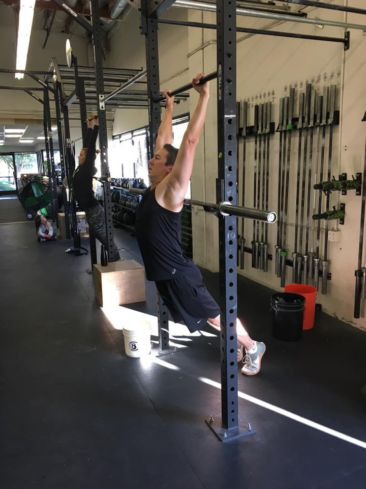 Tony working on position for overhead squats!